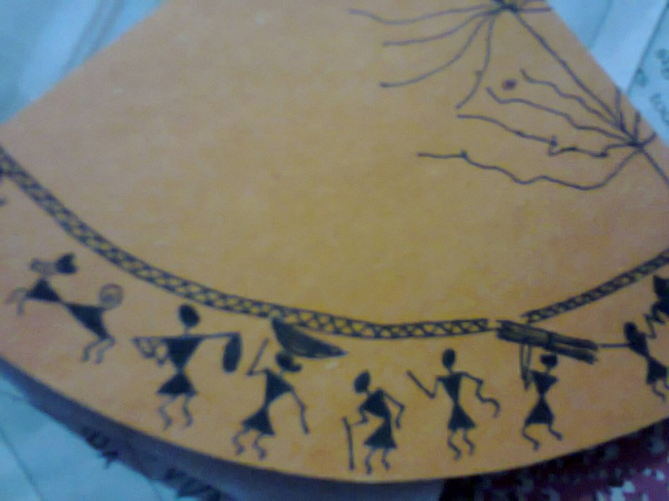 Village scene on paper - Worli Art of India