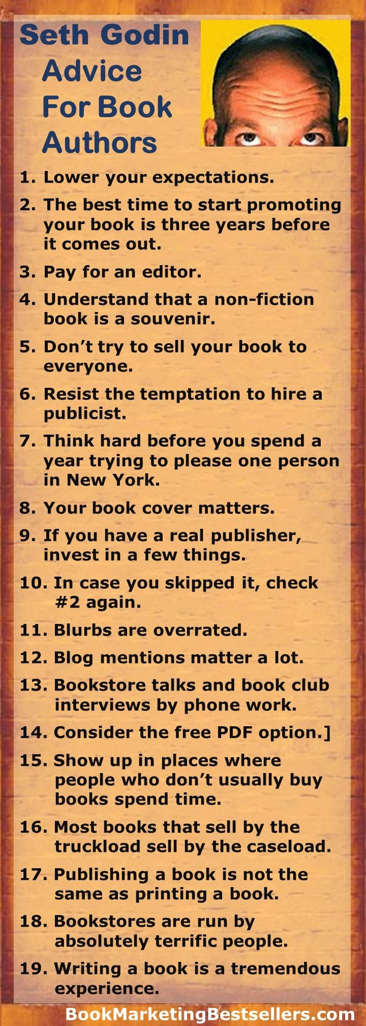 Seth Godin: 19 Points of Advice for Book Authors | book marketing tips | writing advice