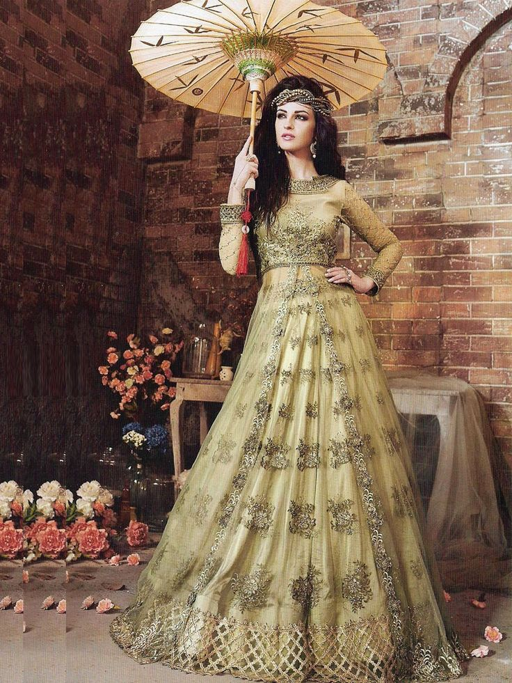 This modern yet aesthetically designed quality Anarkali style dress in laurel green colour makes it a suitable choice for high class women. The outfit is provided with both trouser (pant) and lehanga (skirt) allowing you to show off your personality in different ways as you mix and match the dress.   From once in a lifetime vacations and cruises to destination weddings, and from formal cocktail and dinner parties to wedding receptions, this drop dead gorgeous dress is always your go-to…
