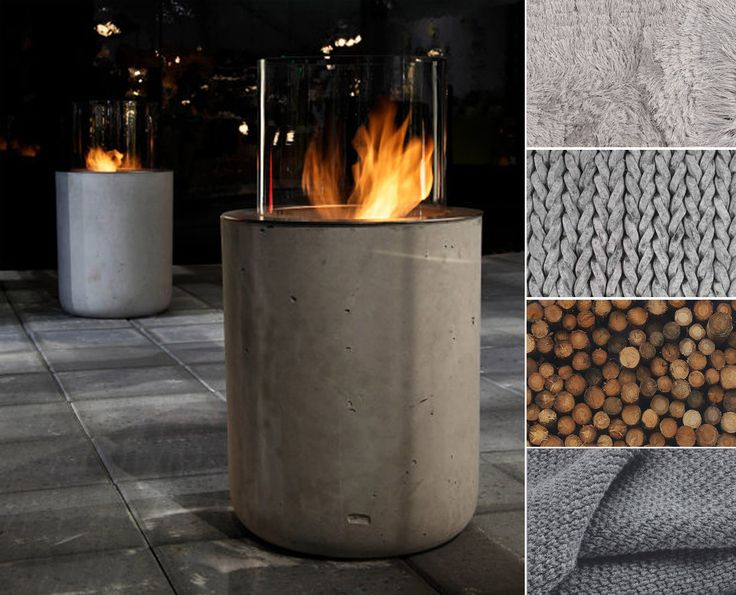 Bio Ethanol Fireplace Jar Commerce by Planika. The coldness of concrete which contrasts nicely with fire, wood, grey fabrics and white walls creates not just modern edge, but natural warmth in the interior.