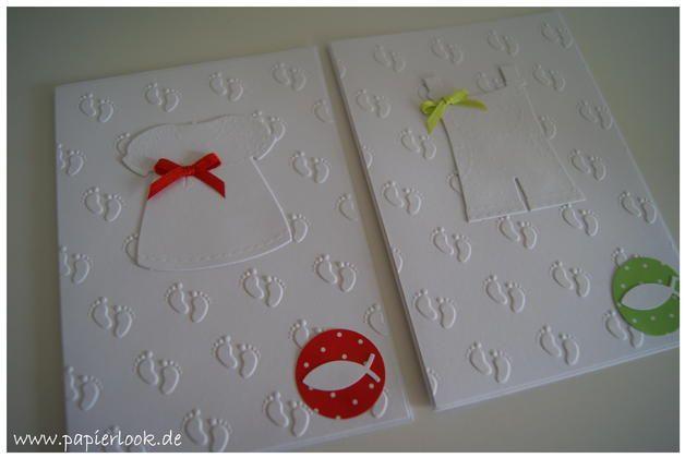 Wunderschön geprägte Karten in weiß, verziert mit einem Kleidchen oder einer Latzhose.   Innen sind die Karten weiß.  Die Karten können sowohl als Einladungen oder auch als Danksagungen...
