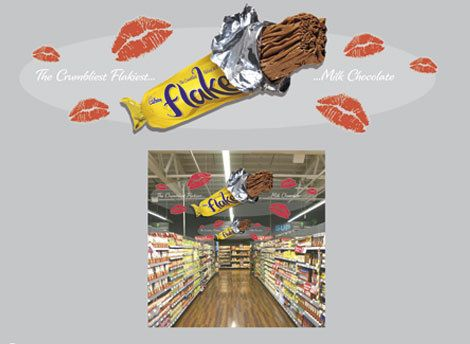 As part of the Flake Lipstick In-Store POS Suite TPI developed a promotional mobile. The mobile was screen printed double sided on a clear pvc providing the illusion that the flake and lips were floating in the air.*** Design, print and build by The Printed Image in Ireland. ***