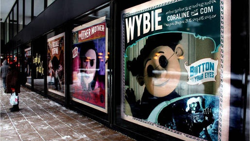 Coraline Movie Campaign by Laika and Wieden + Kennedy - In Store interactive displays included Meet The Cast, Bobinsky's Circus, Button Eye Portrait, and Ghost Children Hologram. The team even connected the movie with Dunks, shoes designed by Nike.