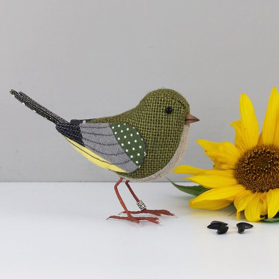 Fabric bird greenfinch sculpture made to by thecottonpotter