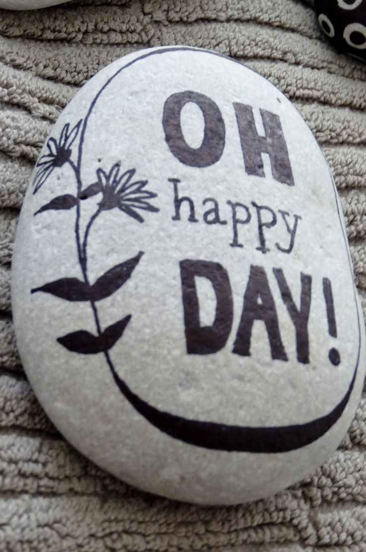 """""""Oh happy day!"""" ~ pebbles from Portugal, hand painted by Sabine Ostermann"""