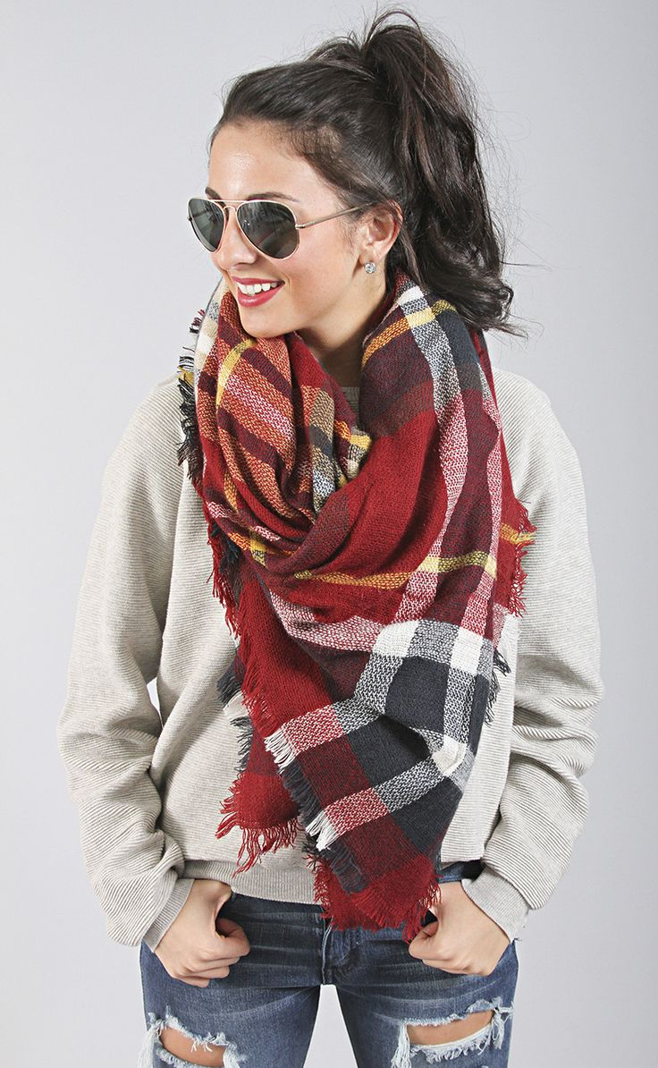 keep me warm plaid scarf - red multi: