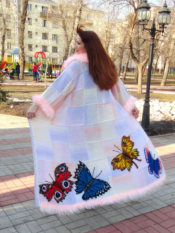 BUTTERFLY  handmade knitted coat for women big size