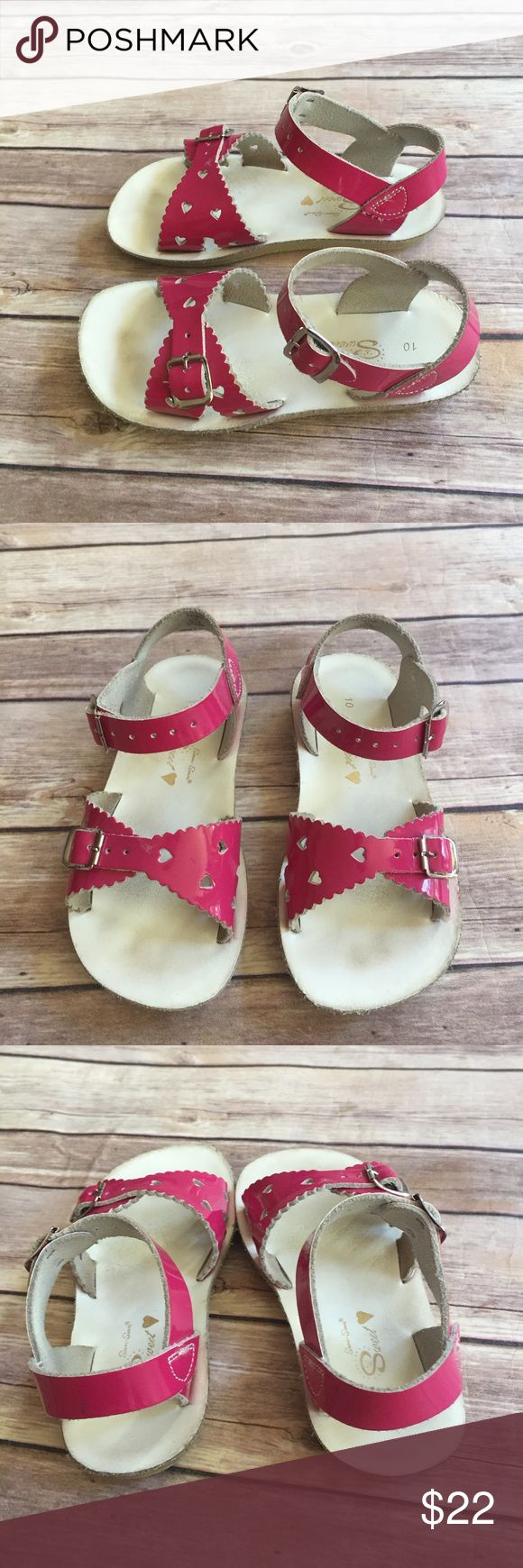 Salt Water Sandals Size 10 toddler bright pink salt water sandals in very good used condition.  Footbeds are very clean.  Great sandals! Salt Water Sandals by Hoy Shoes Sandals & Flip Flops