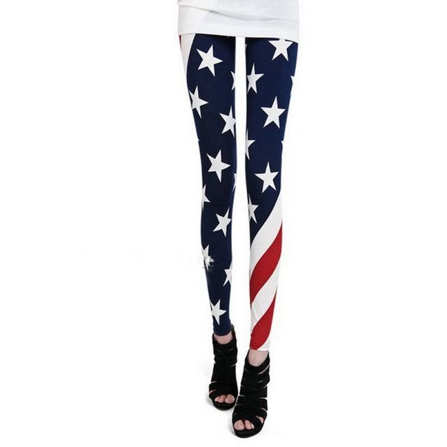 618 Women American US Star Country Flag Legging Blue Red White Pants Plus Size LL4