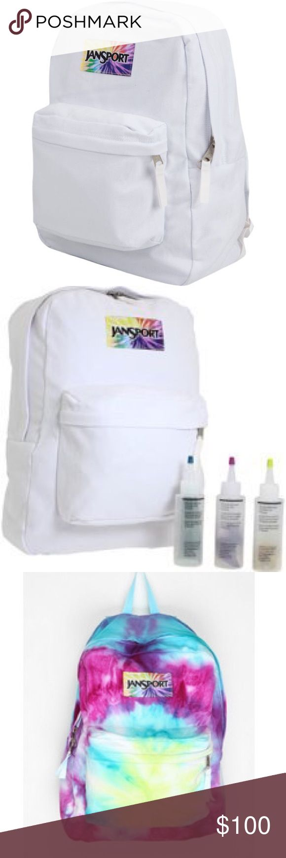 Jansport White To Dye For Tie Tye Dye backpack Jansport Limited edition backpack. Pure white. Tie dyed logo. This backpack can be kept white, but is meant for tye-dying. It has white straps so they can be dyed too. Silver zipper pulls. One large main compartment, one front zipper compartment. Last two pics are examples of how you can tye dye it. The one you will receive has never been used. This is a full size backpack. (Not huge size for hiking) Does not come with dye shown. Dye colors can…