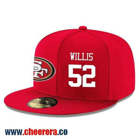 San Francisco 49ers #52 Patrick Willis Snapback Cap NFL Player Red with White Number Hat