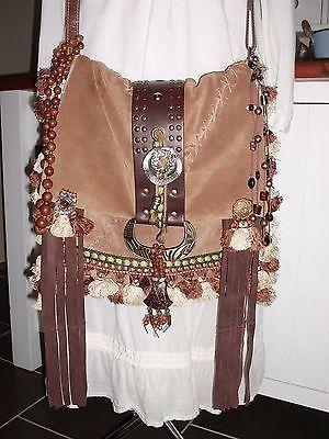 Handmade Leather Suede Tassel Fringe Boho Hippie Gypsy Handbag