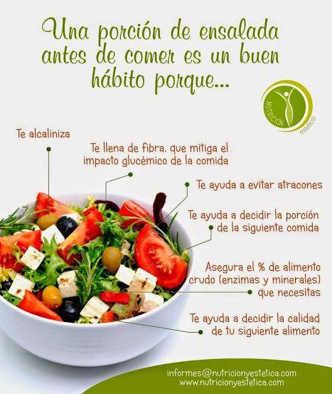 Una porción de ensalada antes de comer... By Nutrición y Estética // //…
