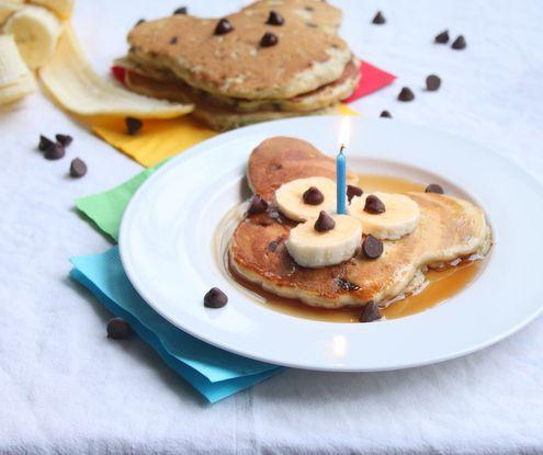 Mickey Mouse Chocolate Chip-Banana-Oatmeal Pancakes! :)