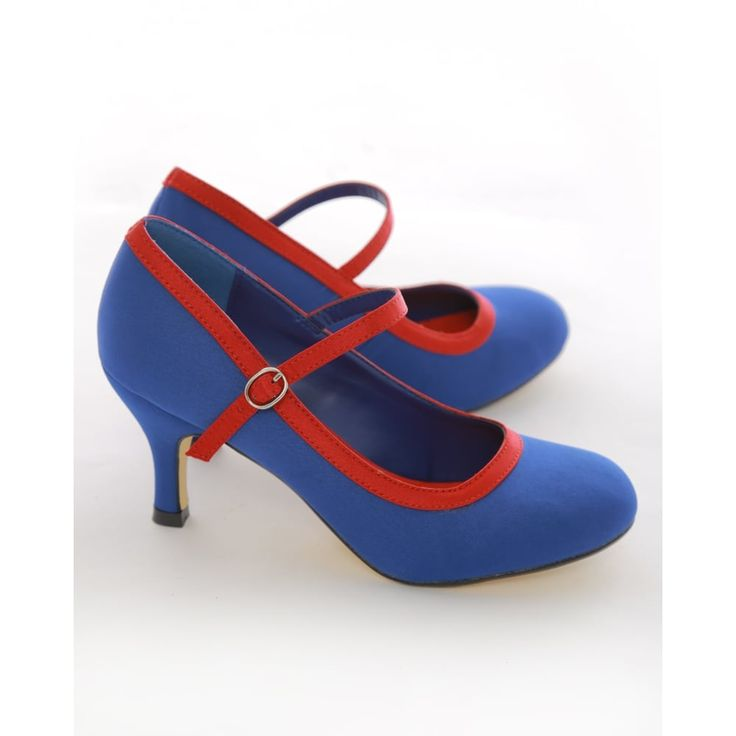 "Blue 3"" Heel 50's Style Mary Jane Shoes"