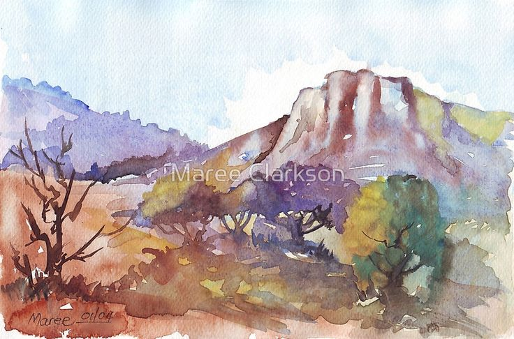 """Wed, 5 Aug 2015 / Watercolour done on Bockingford 300gsm / . / """"You can never conquer the mountain. You can only conquer yourself.""""* / - James Whittaker  / . / This 30 000-hectare mountain preserve is almost entirely the property of agricultural, mining or industrial landowners. But legislation ensures that no more quarries, factories or unacceptable developments can take place that would threaten the integrity of the natural area. There is a fragile and secret w..."""