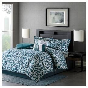 The Carmela Comforter Set will give your bedroom a modern statement. The beautiful, cool toned color, sets the foundation for the contemporary motif, while the jacquard woven geometric pattern adds a chic detail. Three decorative pillows follow the same theme and color scheme to add the finishing touches to your bedding collection. Two shams and one bedskirt are included with the comforter and three decorative pillows to complete this set.