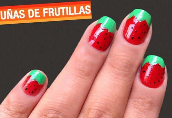 Cómo pintar frutillas en tus uñas - http://xn--pintaruas-r6a.net/como-pintar-frutillas-en-tus-unas/