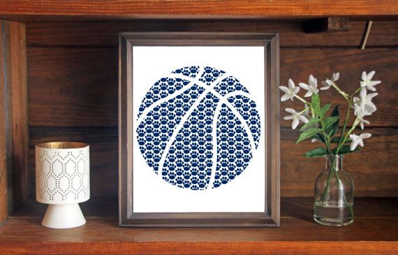 This colorful Pennsylvania State University Nittany Lions Basketball print is an original pattern, designed with the Pennsylvania State University Nittany Lions colors and symbols in mind. This print come in a variety of sizes (please see drop down menu on the right).  This print can come with or without the words, Pennsylvania State Nittany Lions (please see drop down menu on the right).  This unique Pennsylvania State University Nittany Lions Basketball print looks great by itself, or on…