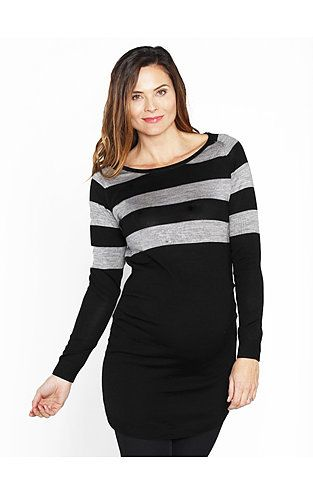 Horizontal stripes have the effect of adding width so it is clever to use the lines to enhance the bust line and reduce attention to the middle and lower body in black. The boat neckline allows the neck to appear long which has a slimming affect.  Photo credit- roomfortwo.com.au