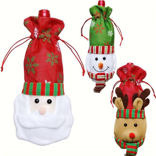 3 шт. Санта-Клауса Снеговик Олень 3 Стили Рождество Подарочные Пакеты Красный Бутылка вина Сумки Рождество Обеденный Стол Украшения Партии Красный Подарочные Пакеты