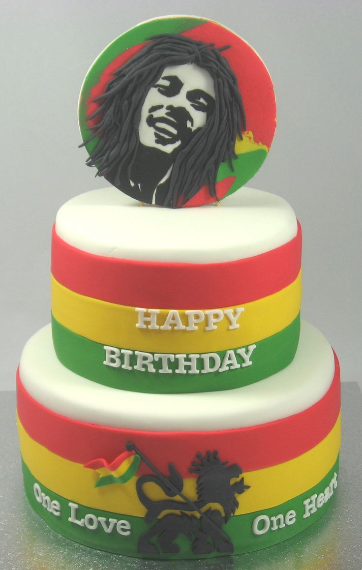 Bob Marley 2 tiered cake by https://www.facebook.com/pages/Carrys-Cakes/824495297611558