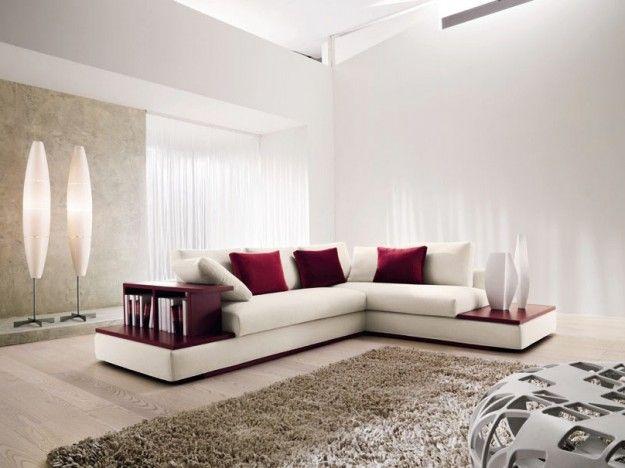 Divano dalle tinte chiare - Divano angolare bianco moderno ed elegante.