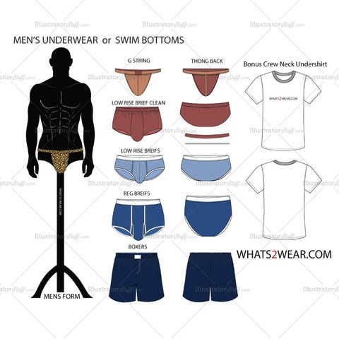 Men's Underwear or Swim Bottoms Fashion Flat Template