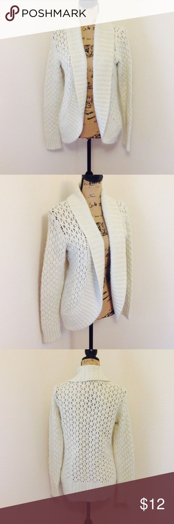 { Old Nacy } Sparkly Loose Knit Cardigan! Off white, loose knit cardigan. Sparkles threaded throughout. Old Navy Sweaters Cardigans