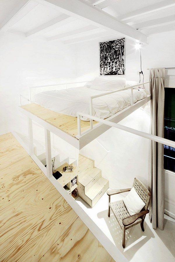 Scaffolding compact bedroom, light and bright, accessed by stairs similar to Na House.