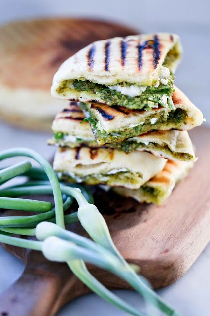Grilled Stuffed Naan with Garlic Scape Chutney