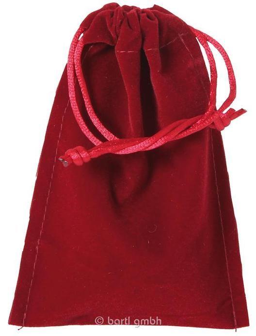 Samtbeutel groß rot, Einfacher Beutel aus festem Samt mit Kordelzug, Abmessungen (in cm): 9,5x14 | 110573