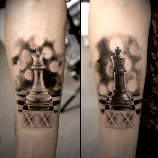 Cute king and queen tattoo for couples0121