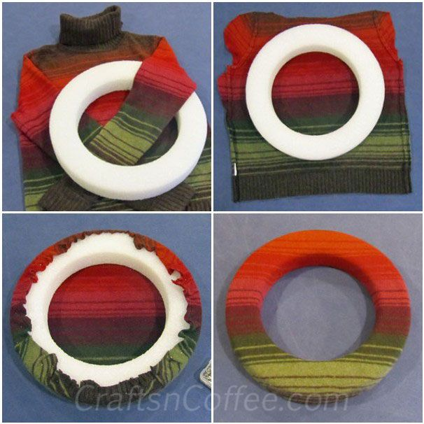 Tutorial to make a sweater wreath