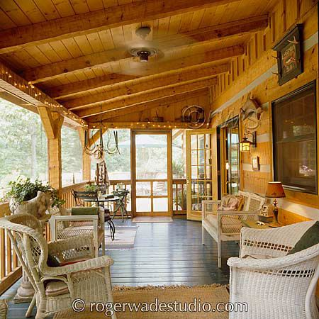 A spacious, lovely screened in porch for our log house we're going to build...