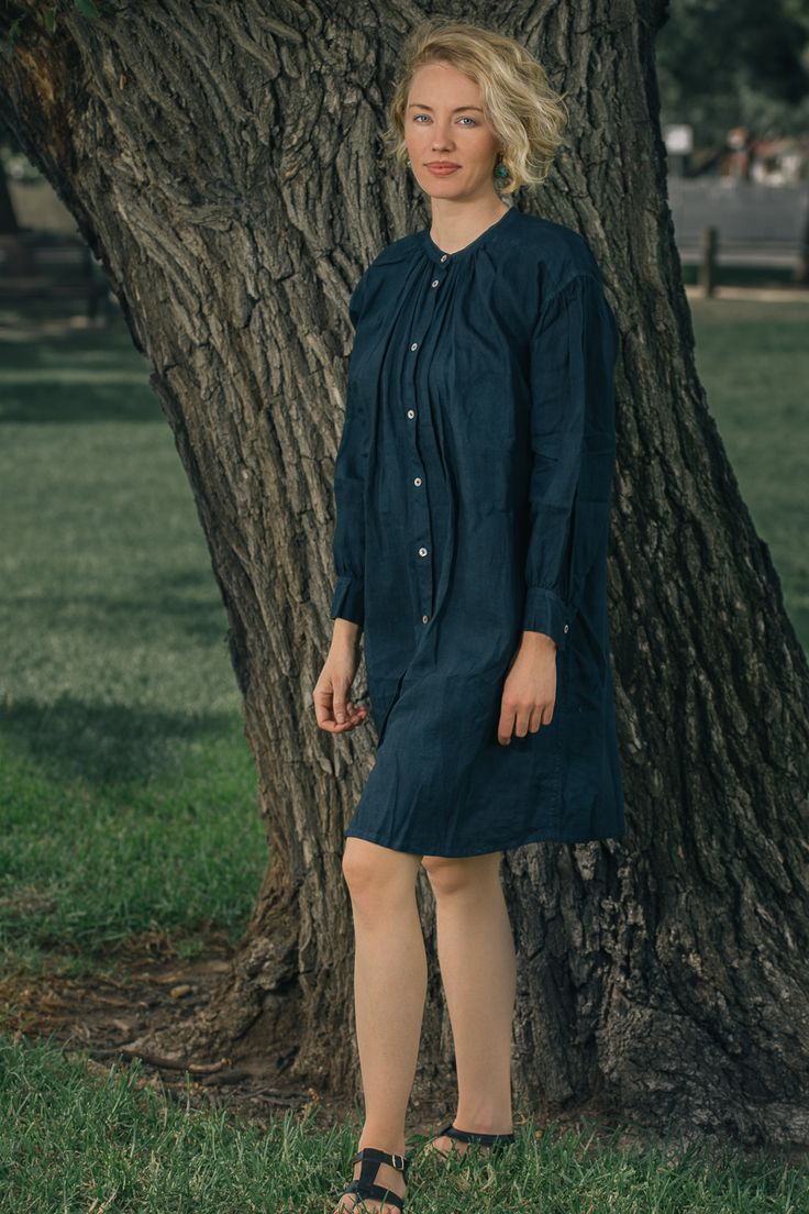 Blue linen dress by Tamami Watanabe. Shot for wabizest.com by Brabet Photo