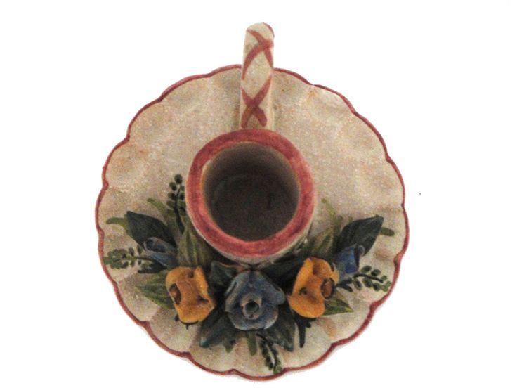 portacandele fiori decoro rosso fiorentino di Gifts & Co su DaWanda.com