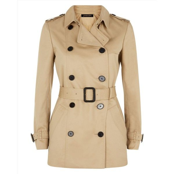 Jaeger Jaeger Double-Breasted Trench Coat ($305) ❤ liked on Polyvore featuring outerwear, coats, brown coat, brown trench coat, women coats, trenchcoat and double breasted trench coat