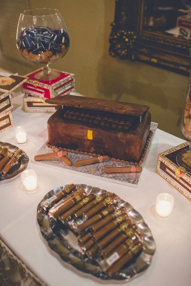 Wedding Cigar Bar and Groom's Cake Table!