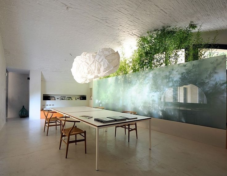 Interior, Minimalist Home Interior Design In Montonate By Benedini U0026  Partners: Glazed Wall With Green Plants Behind It In Dining Room