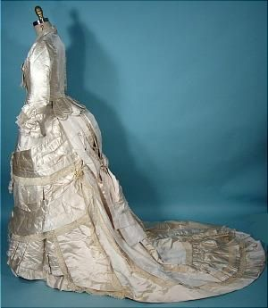 Circa 1880 M.A. CONNELLY, 7 East 16th Street, New York Ivory Silk Satin Bustle Wedding Gown.