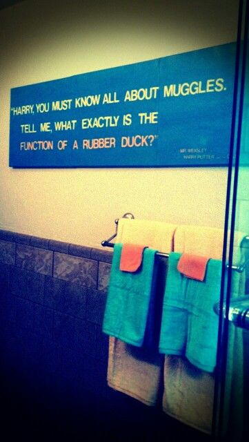 REN - Rubber duck themed bathroom, with nod to Harry Potter.