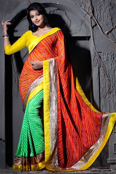 Bandhani Style Sea Green, Red, Yellow Georgette Printed Saree with Lace Border