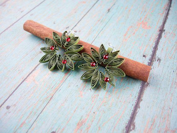 Gift-for-women-Wreath paper earrings-Christmas gift