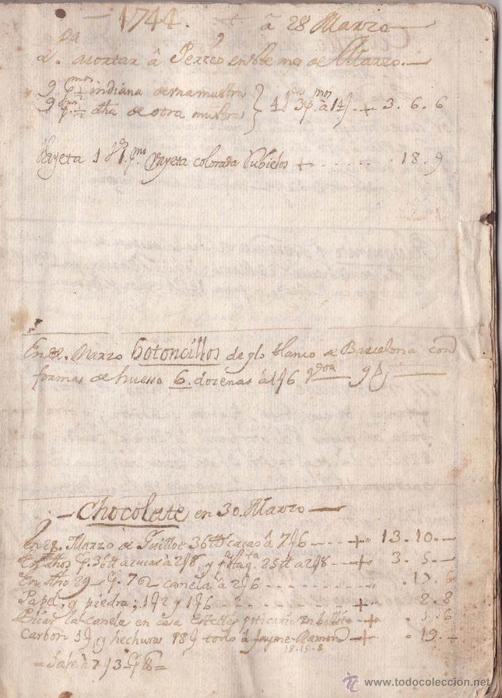 EL MANUSCRITO DE LA RECETA DE CHOCOLATE MÁS ANTIGUO CONSERVADO AÑO 1744 SIGLO XVIII (Coleccionismo - Documentos - Manuscritos)