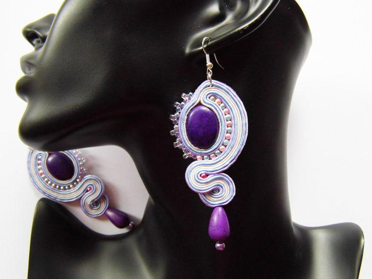 Chandelier Earrings – earrings soutache – a unique product by Kokonek on DaWanda