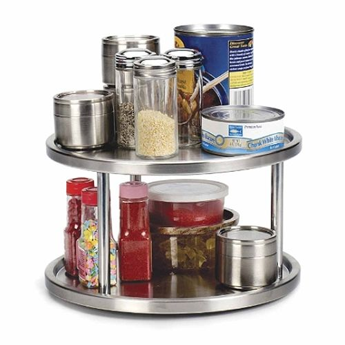 The Two-Tier Stainless Steel Lazy Susan Turntable allows you to easily organize and access items on a table counter top or a cabinet shelf. This kitchen lazy susan features a pair of shelves to better use available vertical space a contemporary 18/10 brushed stainless steel finish and spins freely on steel ball bearing