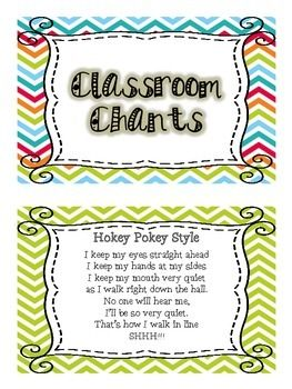 Keep the attention of your children with these attention grabbers! Great for transitions, lining up, or when little ones start to lose focus! There are 42 different songs, poems, and chants on chevron border. All you need to do is print, cut, laminate, and bind to have a handy booklet all year long!