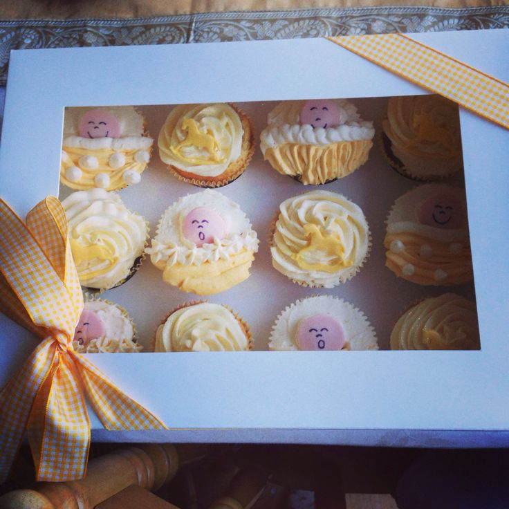 Baby shower cupcakes which I made - surprisingly easy to decorate !!