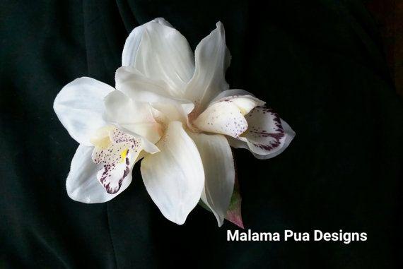 SILK ORCHID HAIR Clip Bridal Hair Flower Real Touch by MalamaPua